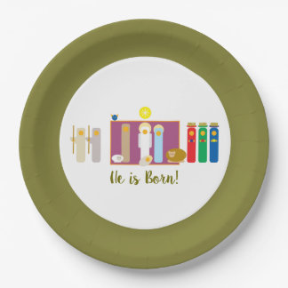 He is Born Minimalist Nativity Scene Christmas Paper Plate