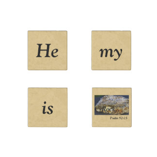 He is my rock Scripture, Stone Magnet, set of four Stone Magnet