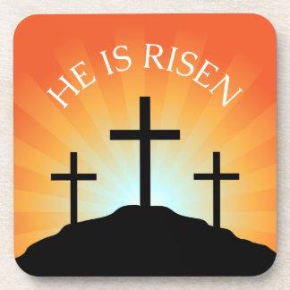 He is risen cross against sunrise Easter Drink Coaster