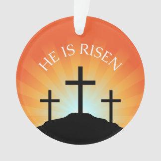 He is risen cross against sunrise Easter Ornament