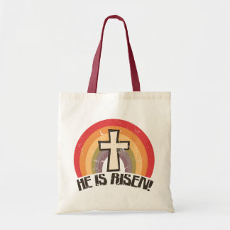 He Is Risen Religious Easter Canvas Bags