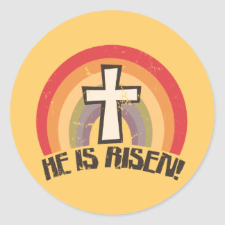 He Is Risen Religious Easter Round Sticker