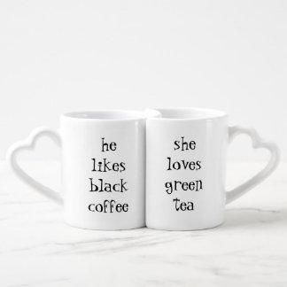 he likes black coffee...she loves green tea coffee mug set