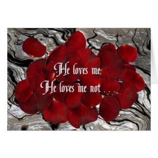 He loves me, he loves me not card