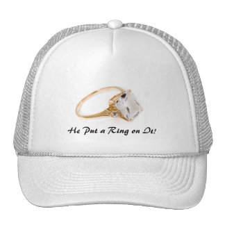 He Put a Ring on It Save the Date Mesh Hat