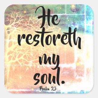 He Restoreth My Soul Psalm 23 Christian Sticker