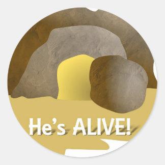 He s Alive Round Sticker