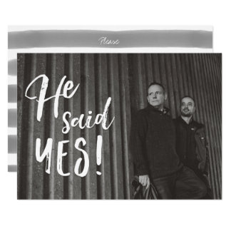 He Said Yes | Gay Engagement Photo Save the Date Card
