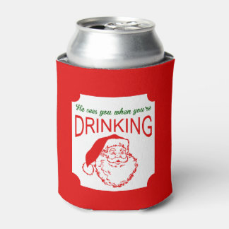 He Sees you Red Christmas Can Cooler