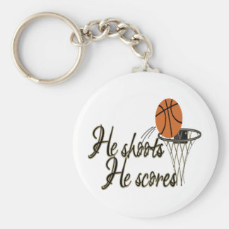 He Shoots...He Scores Basic Round Button Key Ring