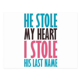 HE STOLE MY HEART (in blue and pink) Postcard