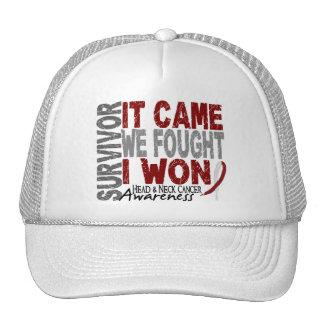 Head and Neck Cancer Survivor It Came We Fought Mesh Hats