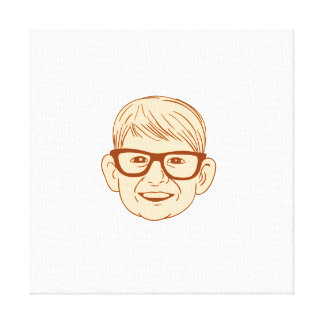 Head Caucasian Boy Smiling Big Glasses Drawing Canvas Print