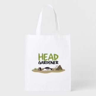 Head Gardener Illustration Reusable Grocery Bag