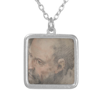 Head of a Bearded Man Looking Left Silver Plated Necklace