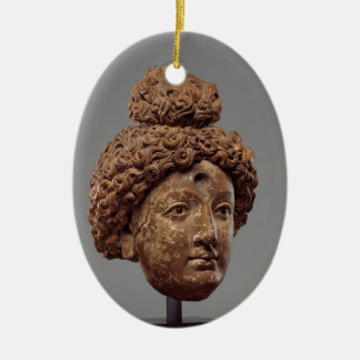 Head of a Buddha or Bodhisattva Ceramic Oval Decoration