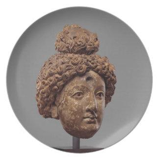 Head of a Buddha or Bodhisattva Plate