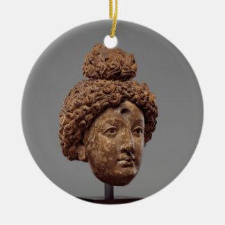 Head of a Buddha or Bodhisattva Round Ceramic Decoration