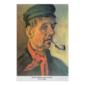 Head of a farmer with a clay pipe by van Gogh Posters