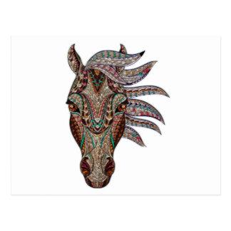 Head of a horse painted on glass like art postcard
