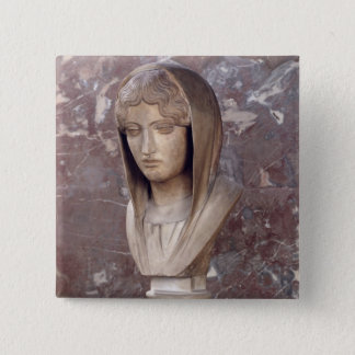 Head of a woman known as Aspasia of Miletos 15 Cm Square Badge