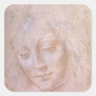 Head of a woman square sticker