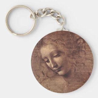 Head of a Young Woman with Tousled Hair (Leda) Basic Round Button Key Ring