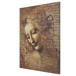Head of a Young Woman with Tousled Hair or, Leda Stretched Canvas Print