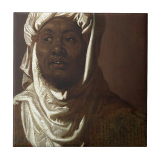 Head of an African Man Small Square Tile