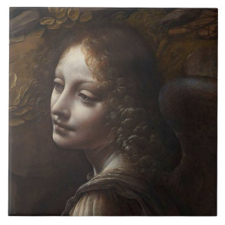 Head of an Angel by Leonardo Large Square Tile