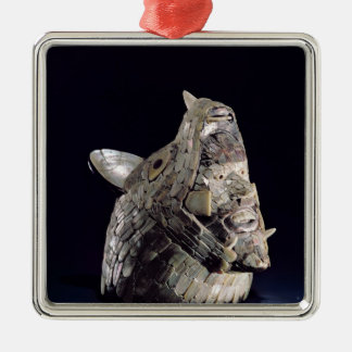 Head of an animal with human head in open jaws Silver-Colored square decoration