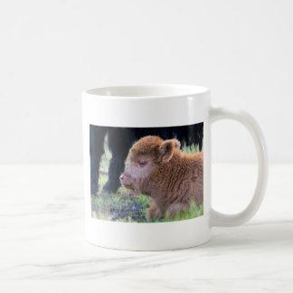 Head of Brown newborn scottish highlander calf Coffee Mug