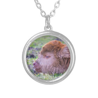 Head of brown newborn scottish highlander calf silver plated necklace