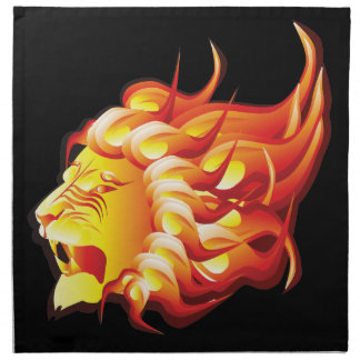 Head of fire lion napkin