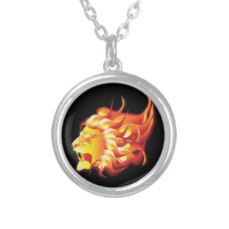 Head of fire lion silver plated necklace