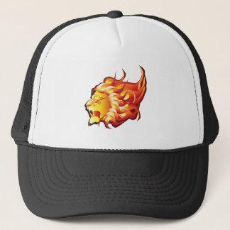 Head of fire lion trucker hat