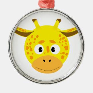 Head of Giraffe Silver-Colored Round Decoration