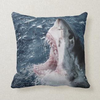 Head of Great White Shark Throw Pillow