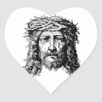 Head of Jesus Christ Heart Sticker
