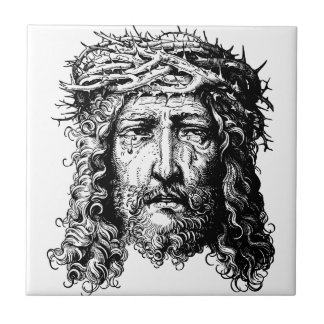 Head of Jesus Christ Small Square Tile