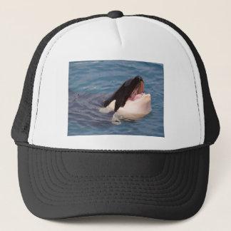 Head of killer whale trucker hat