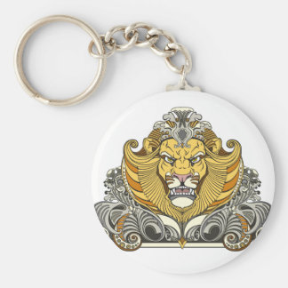head of lion basic round button key ring