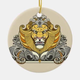 head of lion ceramic ornament