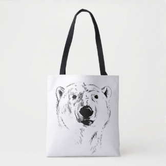 Head of Polar Bear Tote Bag