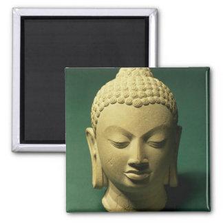 Head of the Buddha, Sarnath (sandstone) Square Magnet