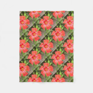 Head On Shot of a Red Tropical Hibiscus Flower Fleece Blanket