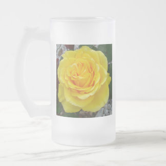 Head On View Of A Yellow Rose Frosted Glass Beer Mug