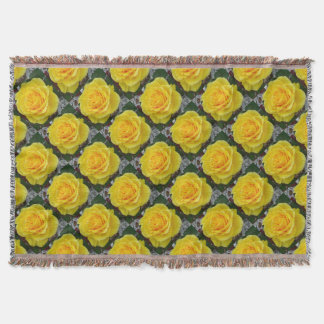 Head On View Of A Yellow Rose Throw Blanket