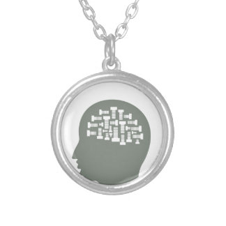 Head Silver Plated Necklace
