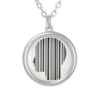 Head stroke a code silver plated necklace